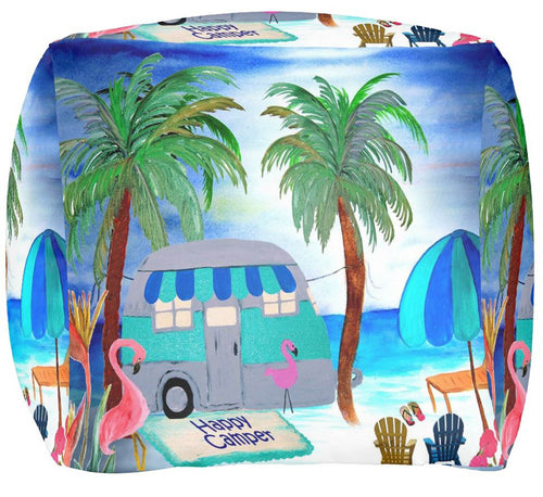 Air stream vintage camper on the beach ottoman or foot stool - Maremade Designs