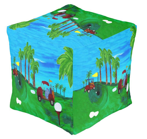 Golf home decor ottoman or foot stool - Maremade Designs