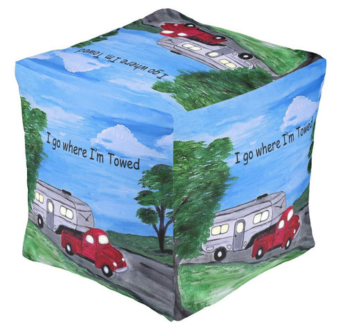 Red truck and camper trailer country road ottoman or foot stool
