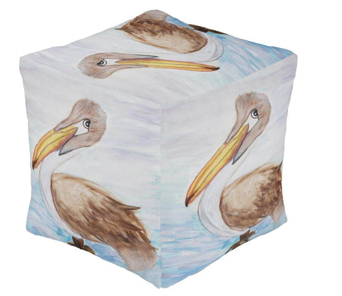 Pelican tropical bird beach coastal decor ottoman