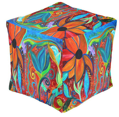 Copy of Fantasy floral garden party ottoman or foot stool - Maremade Designs