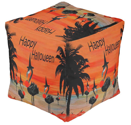 Flamingo witch Halloween beach sunset ottoman or foot stool - Maremade Designs
