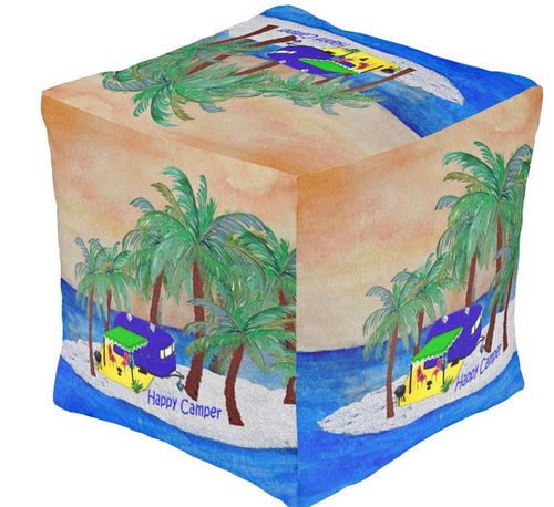 Island retro vintage camper on an island ottoman or foot stool - Maremade Designs