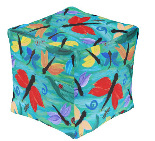 Dragonfly party garden ottoman or foot stool - Maremade Designs