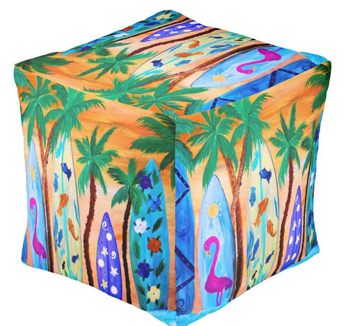 Surfboards in the sunset decor ottoman