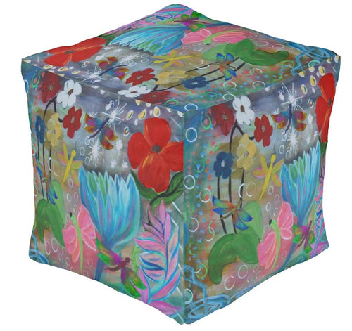 Fantasy floral garden party ottoman or foot stool - Maremade Designs