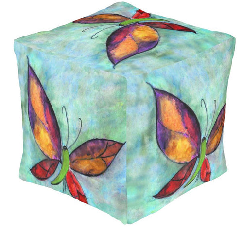 Butterfly garden ottoman or foot stool - Maremade Designs