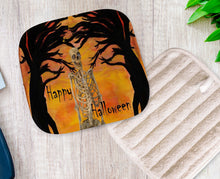 Load image into Gallery viewer, Halloween skeleton and spooky tree in sunset kitchen decor - Maremade Designs