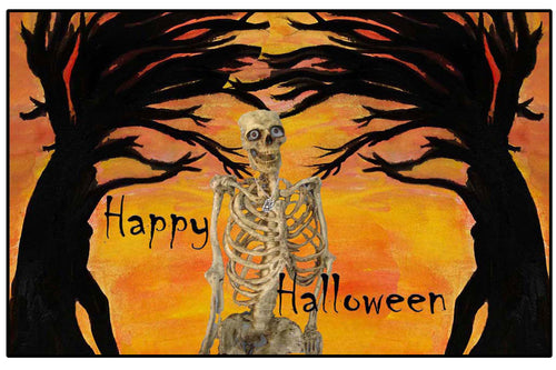 Skeleton spooky trees Halloween door floor mat.