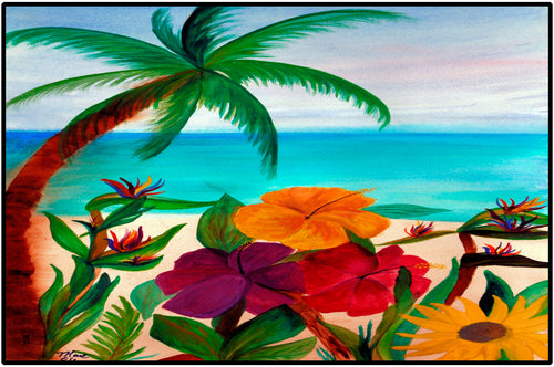 Tropical floral beach coastal floor door mat - Maremade Designs