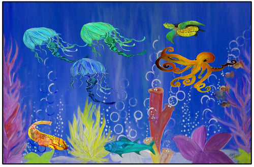 Under the ocean sea life floor mat - Maremade Designs