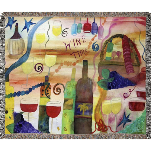 Wine time Woven throw Blankets from my art.