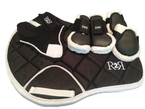 Saddle Pad Set with Boots BLACK
