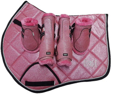 Load image into Gallery viewer, Saddle Pad Set with Jump Boots Set PINK GLITTER