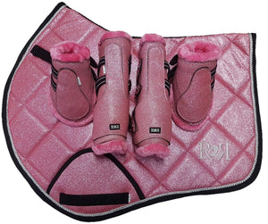 Saddle Pad Set with Jump Boots Set PINK GLITTER