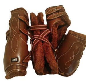 CLEARANCE PRICE! Open Front Boots + Matching Back Boots BROWN LEATHER Brown Fleece
