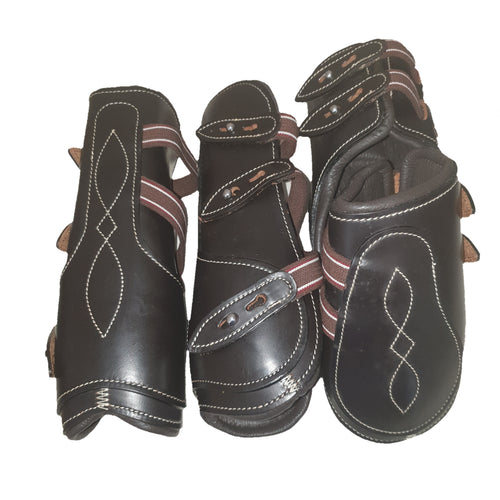 CLEARANCE PRICE! Open Front Boots + Matching Back Boots LEATHER Blackish Brown