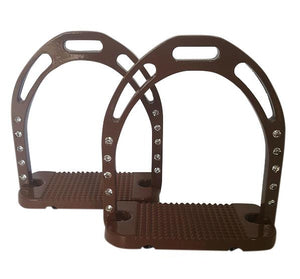 CLEARANCE PRICE! Wide Base Stirrups with Crystals Brown