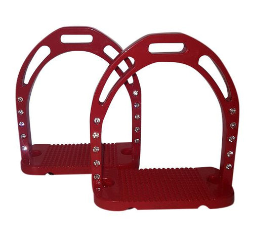 CLEARANCE PRICE! Wide Base Stirrups with Crystals Red