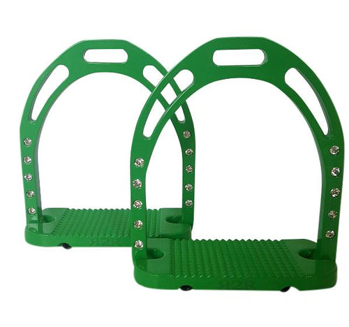CLEARANCE PRICE! Wide Base Stirrups with Crystals Green
