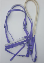 Load image into Gallery viewer, CLEARANCE SALE! PVC Bridle with Reins PURPLE SIZE COB
