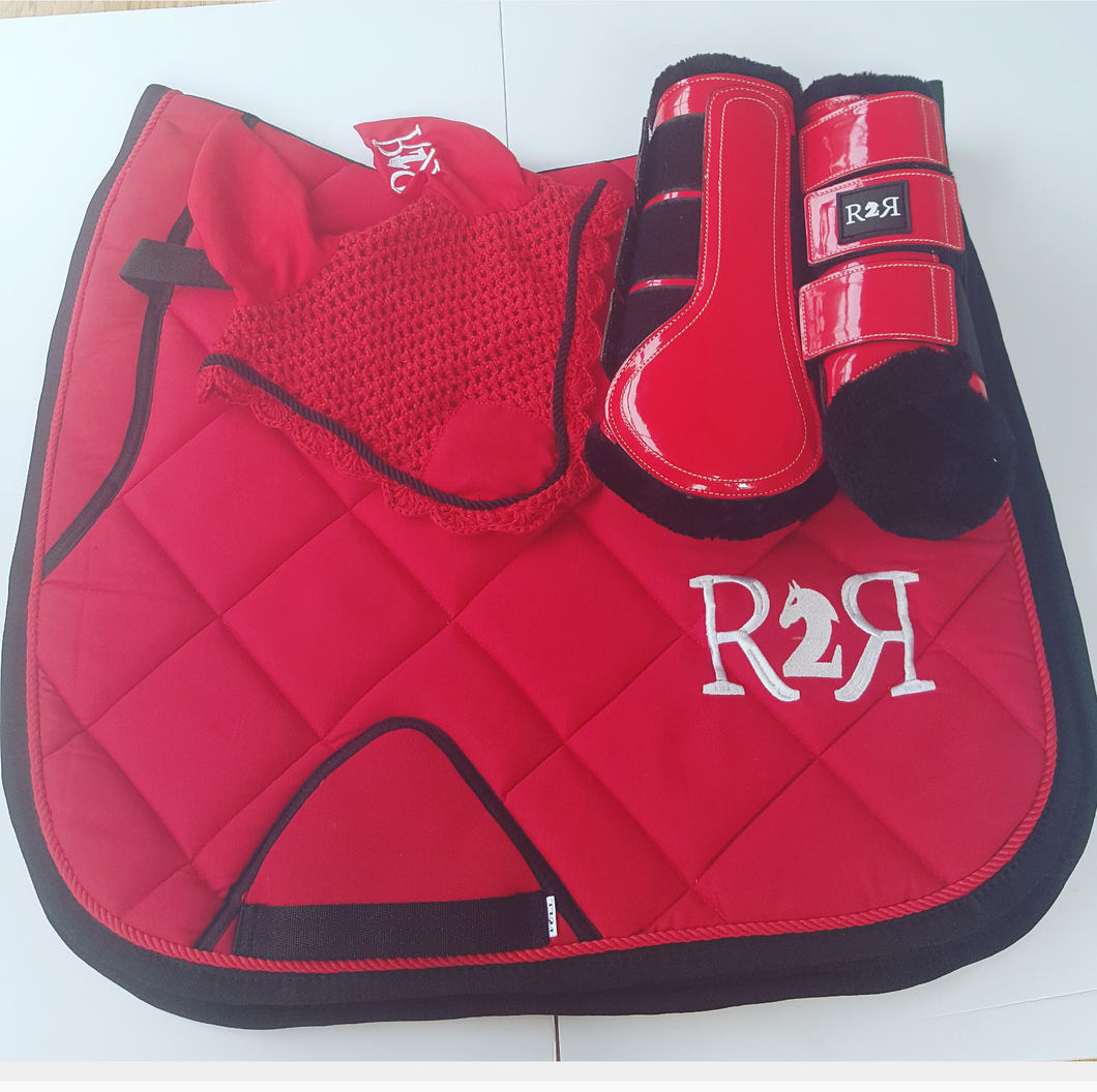 DRESSAGE Saddle Pad Set with Boots RED