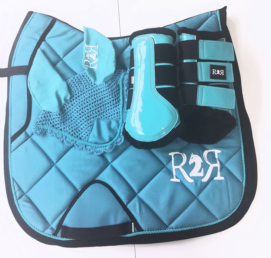 DRESSAGE Saddle Pad Set with Boots TURQUOISE