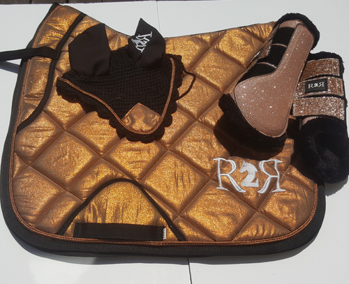 DRESSAGE Saddle Pad Set with Boots COPPER GOLD SHIMMER