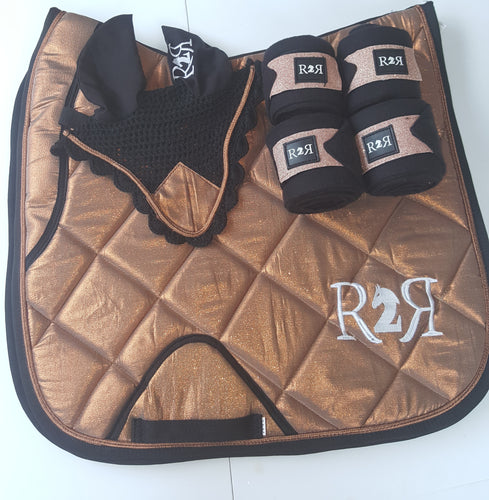 DRESSAGE Saddle Pad Set with Polo Bandages COPPER GOLD SHIMMER