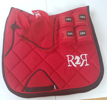 Load image into Gallery viewer, DRESSAGE Saddle Pad Set with Polo Bandages RED
