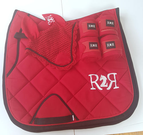 DRESSAGE Saddle Pad Set with Polo Bandages RED