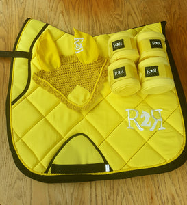 DRESSAGE Saddle Pad Set with Polo Bandages YELLOW