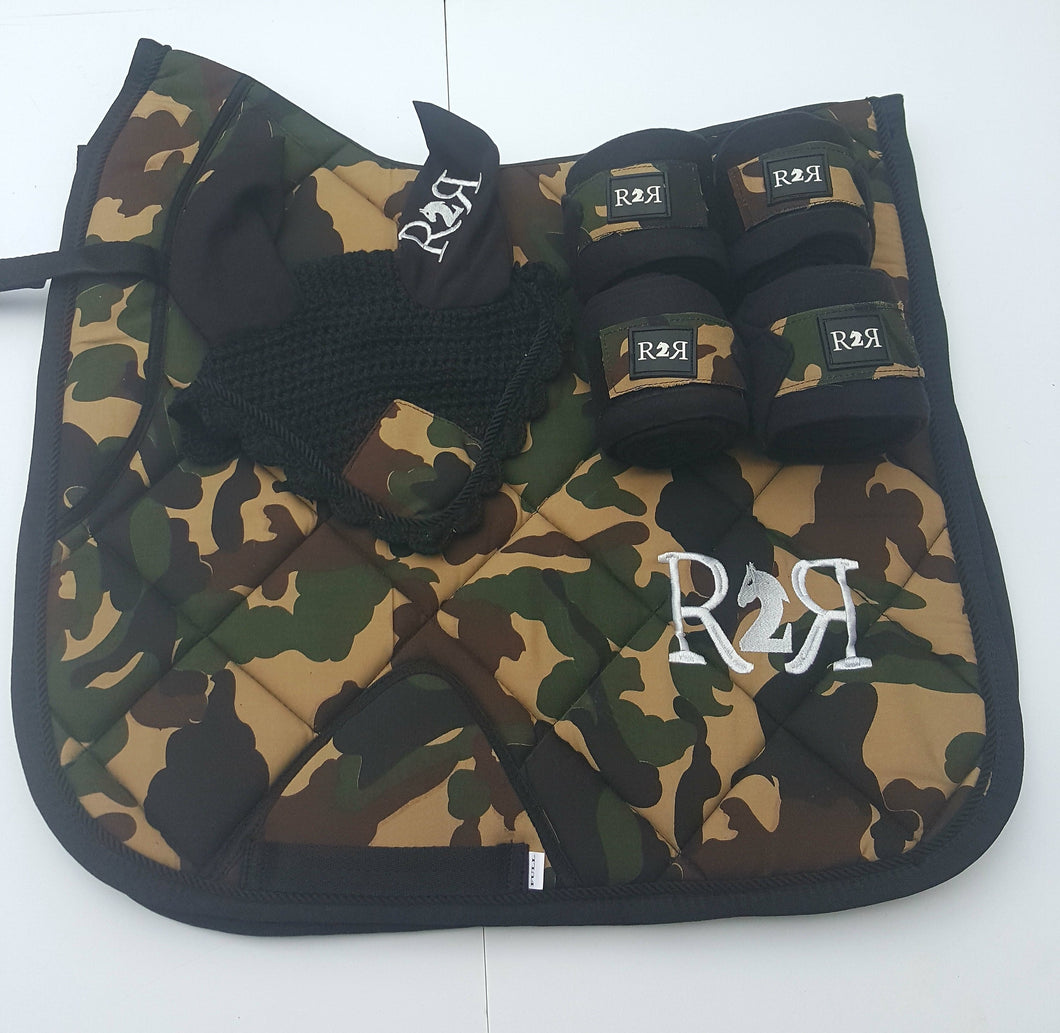 DRESSAGE Saddle Pad Set with Polo Bandages CAMO