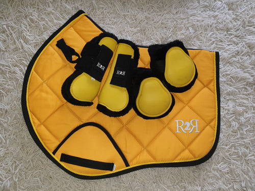 CLEARANCE SALE! Saddle Pad Set with Boots YELLOW SIZE FULL
