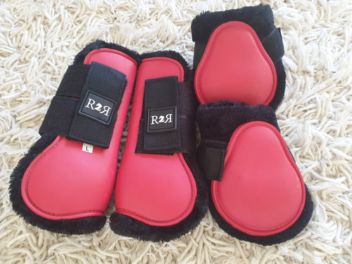 CLEARANCE PRICE! Open Front Boots + Matching Back Boots RED SIZE FULL