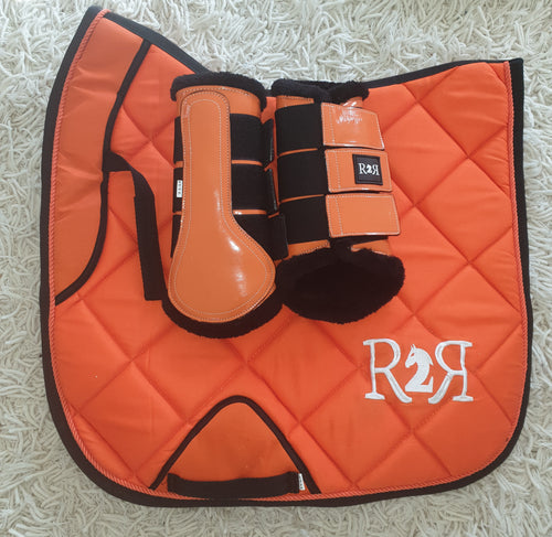 CLEARANCE SALE! Saddle Pad Set with Boots Orange DRESSAGE Size Full
