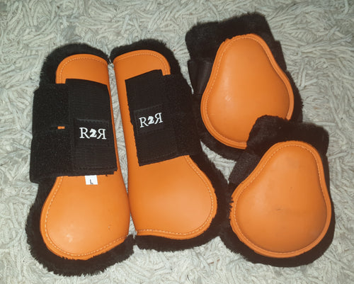 CLEARANCE PRICE! Open Front Boots + Matching Back Boots ORANGE SIZE FULL