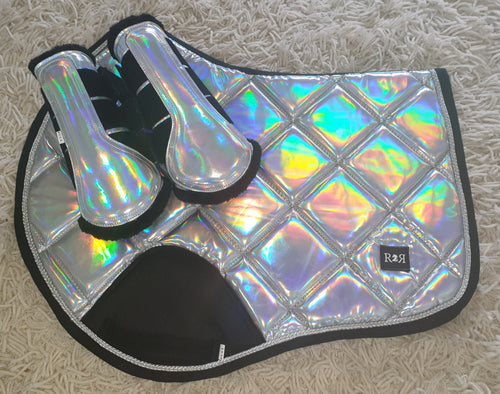 CLEARANCE SALE! Saddle Pad Set with Brushing Boots HOLO Size Full