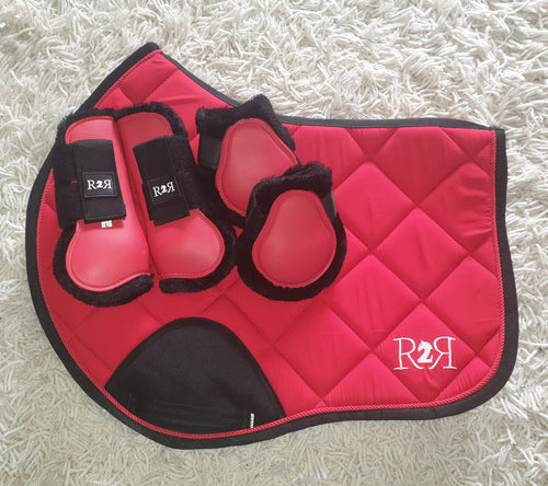 CLEARANCE SALE! Saddle Pad Set with Boots RED SIZE FULL