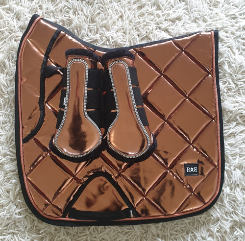 CLEARANCE SALE! Saddle Pad Set with Boots COPPER DRESSAGE Size Full