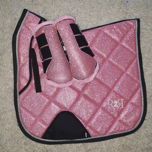 Saddle Pad Set with Boots PINK GLITTER DRESSAGE Size Full