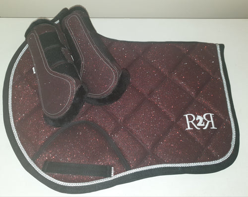 CLEARANCE SALE! Saddle Pad Set with Brushing Boots BURGUNDY GLITTER SIZE COB