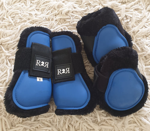 CLEARANCE PRICE! Open Front Boots + Matching Back Boots Royal Blue SIZE PONY