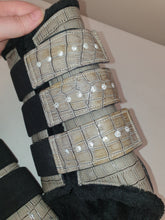 Load image into Gallery viewer, CLEARANCE SALE! Brushing Boots GREY CROC Crystal Tabs