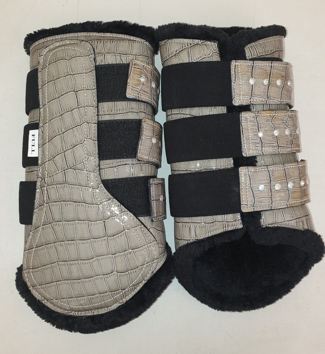 CLEARANCE SALE! Brushing Boots GREY CROC Crystal Tabs