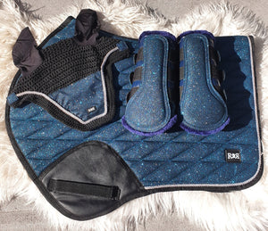Saddle Pad Set with BRUSHING Boots BLUE GLITTER