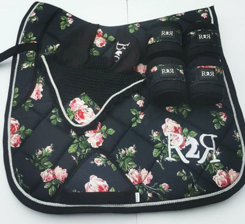 DRESSAGE Saddle Pad Set with Polo Bandages FLORAL