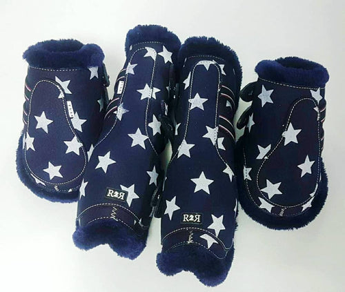 Open Front Boots + Matching Back Boots NAVY STARS