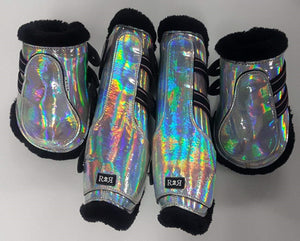 CLEARANCE PRICE! Open Front Boots + Matching Back Boots HOLO SIZE FULL