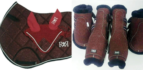 Saddle Pad Set with Jump Boots Set BURGUNDY GLITTER